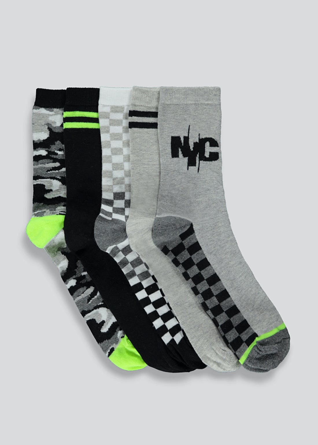 Boys 5 Pack NYC Socks (Younger 6-Older 6.5)