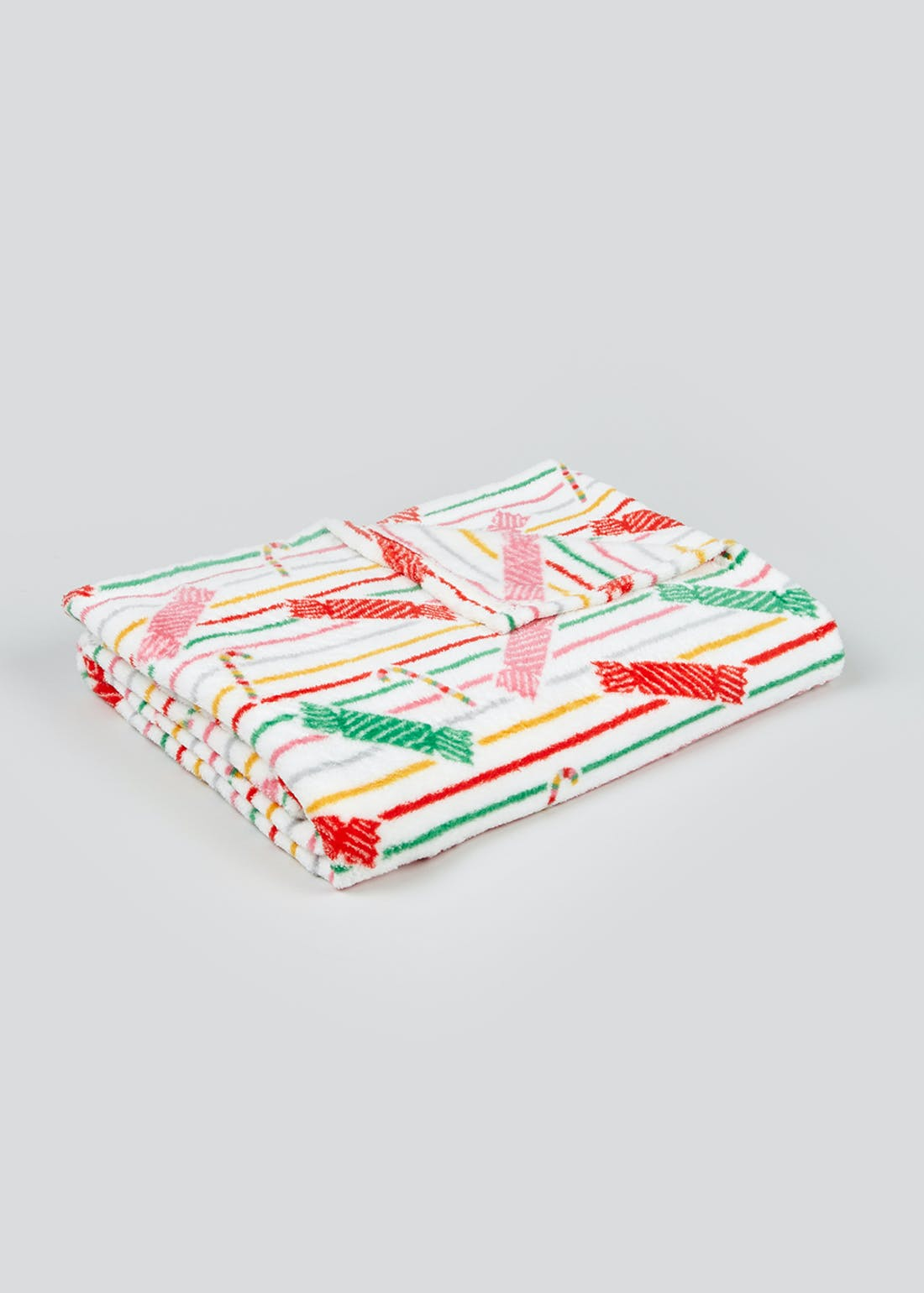 Kids Christmas Candy Stripe Fleece Throw Blanket (150cm x 130cm)