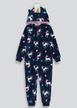 Girls Unicorn Fleece Christmas Onesie (6-13yrs)