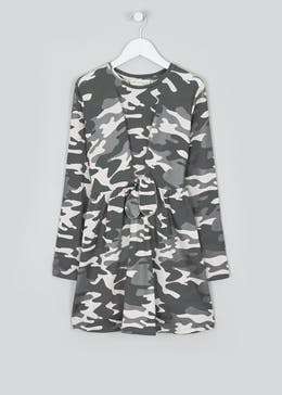 Girls Long Sleeve Camo Print Dress (4-13-yrs)