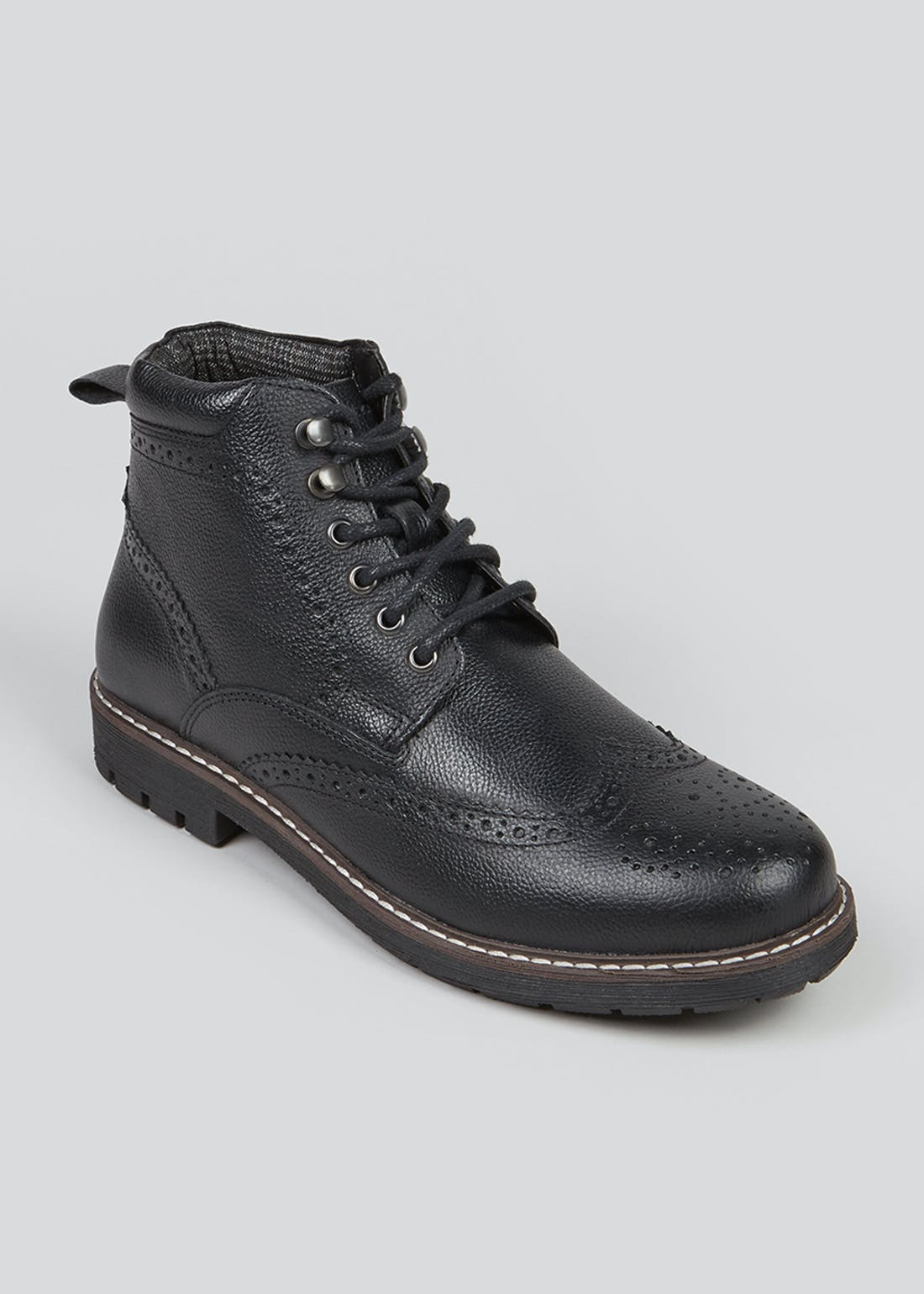 Black Leather Brogue Boot