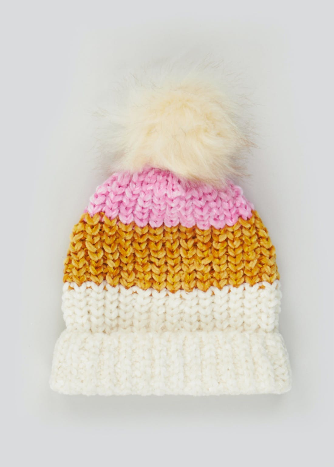 Girls Chenille Knit Bobble Hat (7-13yrs)