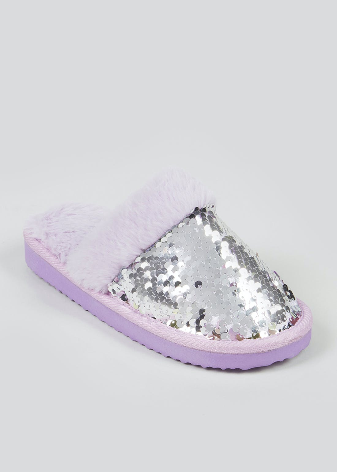 Girls Lilac Flippy Sequin Mule Slippers (Younger 10-Older 5)
