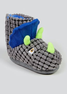 Boys Grey 3D Dinosaur Slipper Boots (Younger 4-12)
