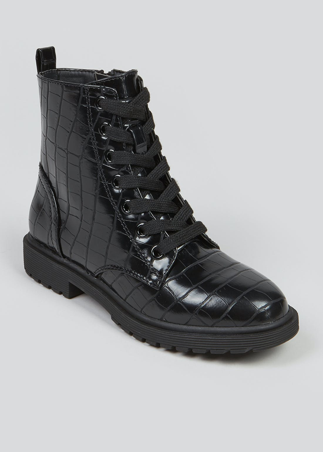 Girls Black Lace Up Grunge Boots (Younger 10-Older 5)