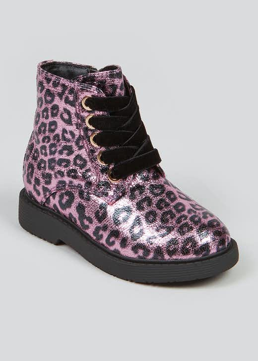 Girls Pink Metallic Leopard Print Boots (Younger 4-12)
