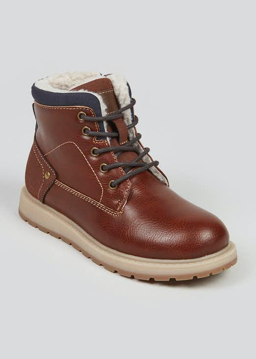 Boys Tan Fleece Lined Hiker Boots (Younger 10-Older 6)