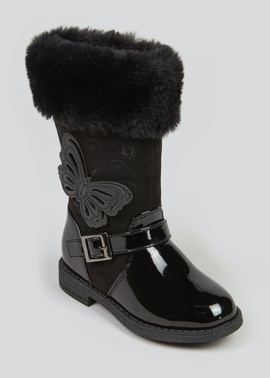 Girls Black Faux Fur Trim Knee Boots (Younger 4-12)