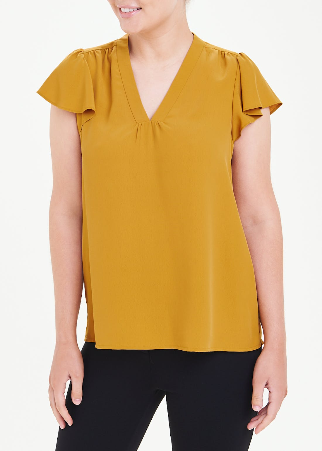 Mustard Frill Sleeve V-Neck Blouse