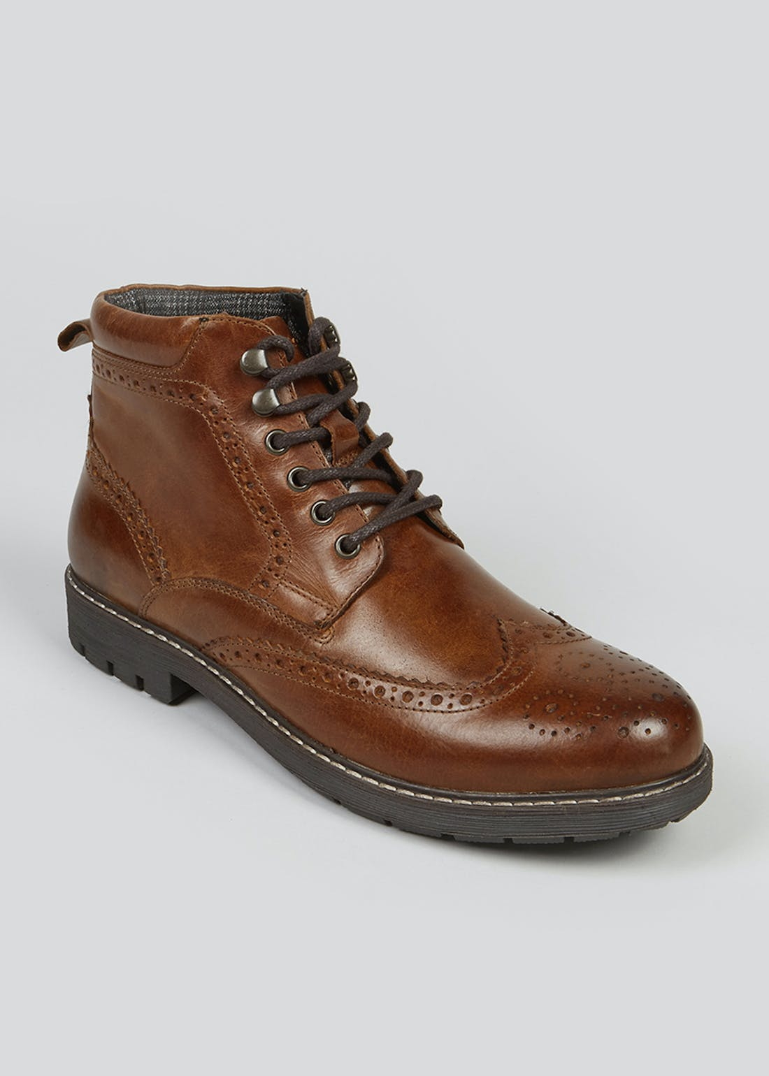 Tan Real Leather Brogue Boots