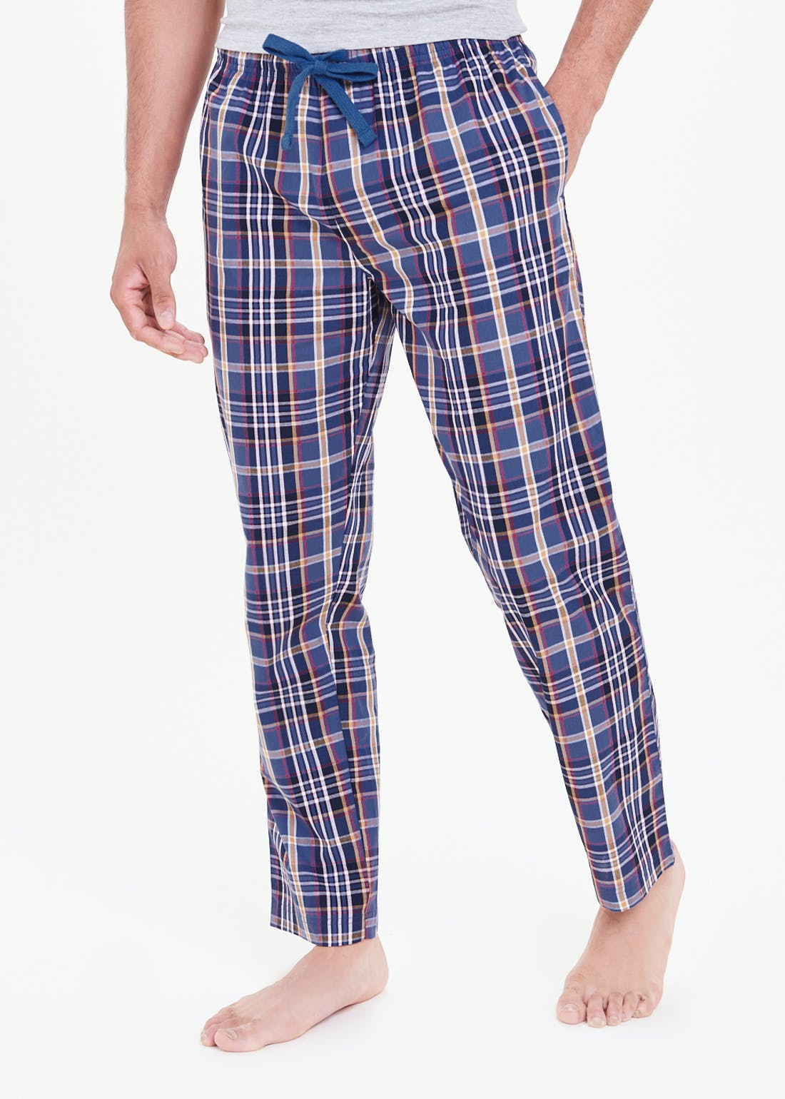 Cotton Poplin Check Pyjama Bottoms