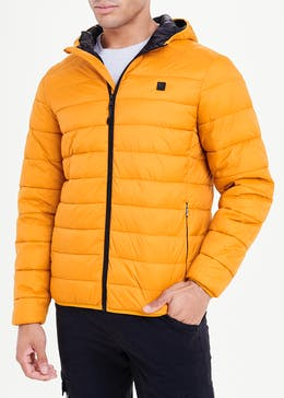 Mustard Lightweight Hooded Puffer Jacket