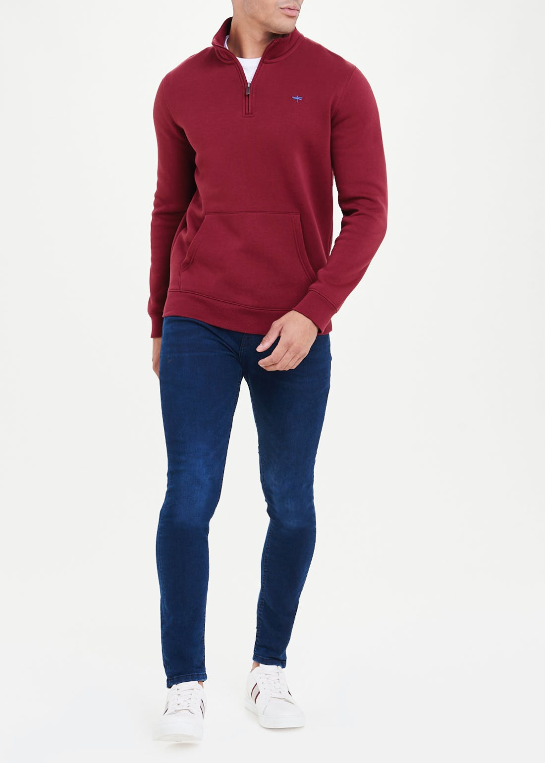 Embroidered Half Zip Sweatshirt