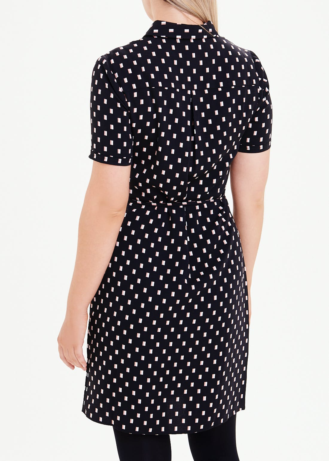 Black Short Sleeve Printed Shirt Dress