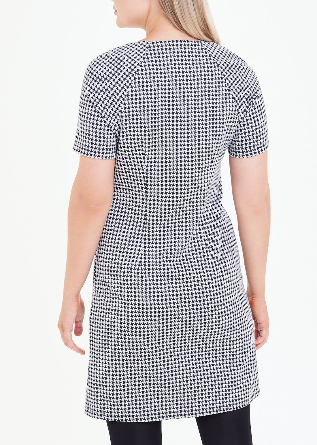 Black Short Sleeve Check Ponte Shift Dress