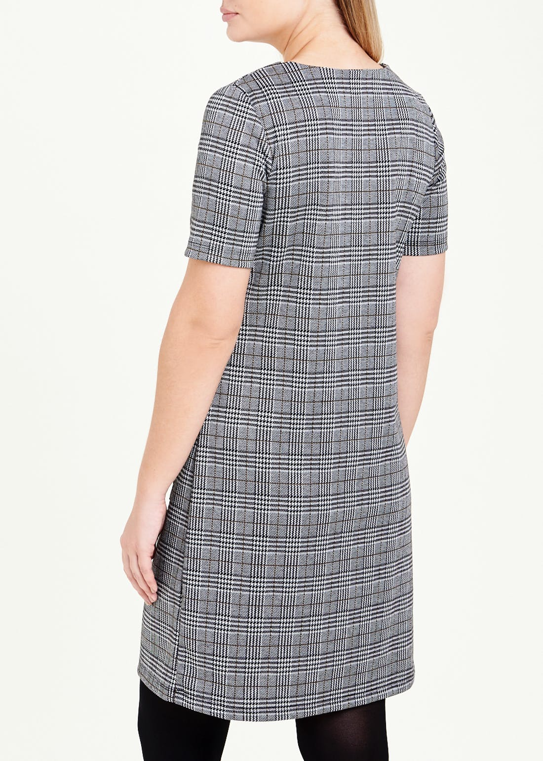 Grey Short Sleeve Check Ponte Shift Dress