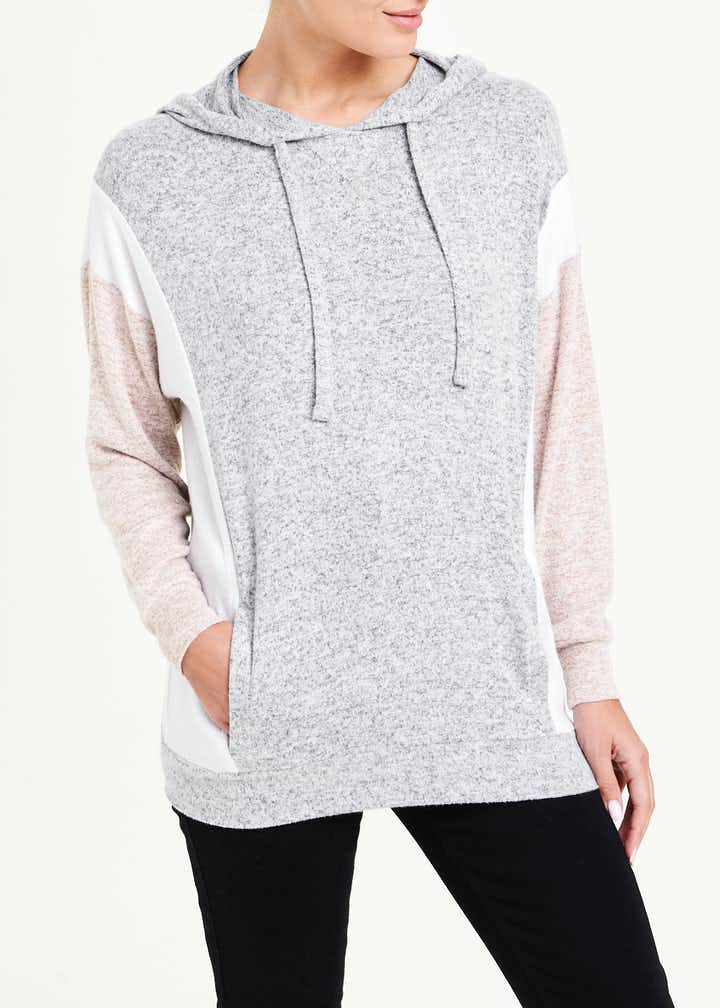 Colour Block Soft Touch Hoodie