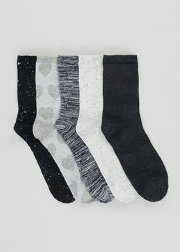 5 Pack Textured Socks