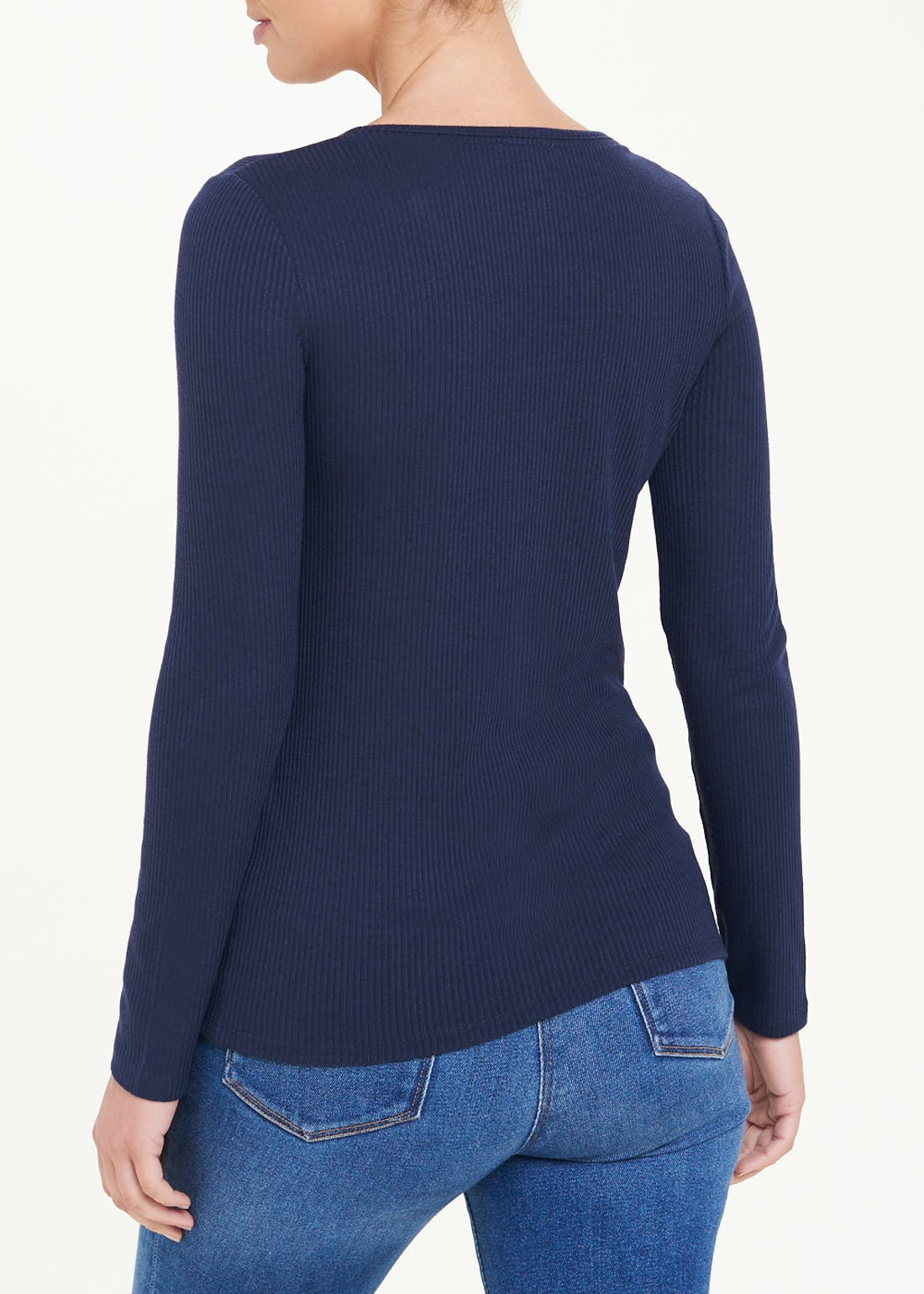 Long Sleeve Ribbed Henley Top