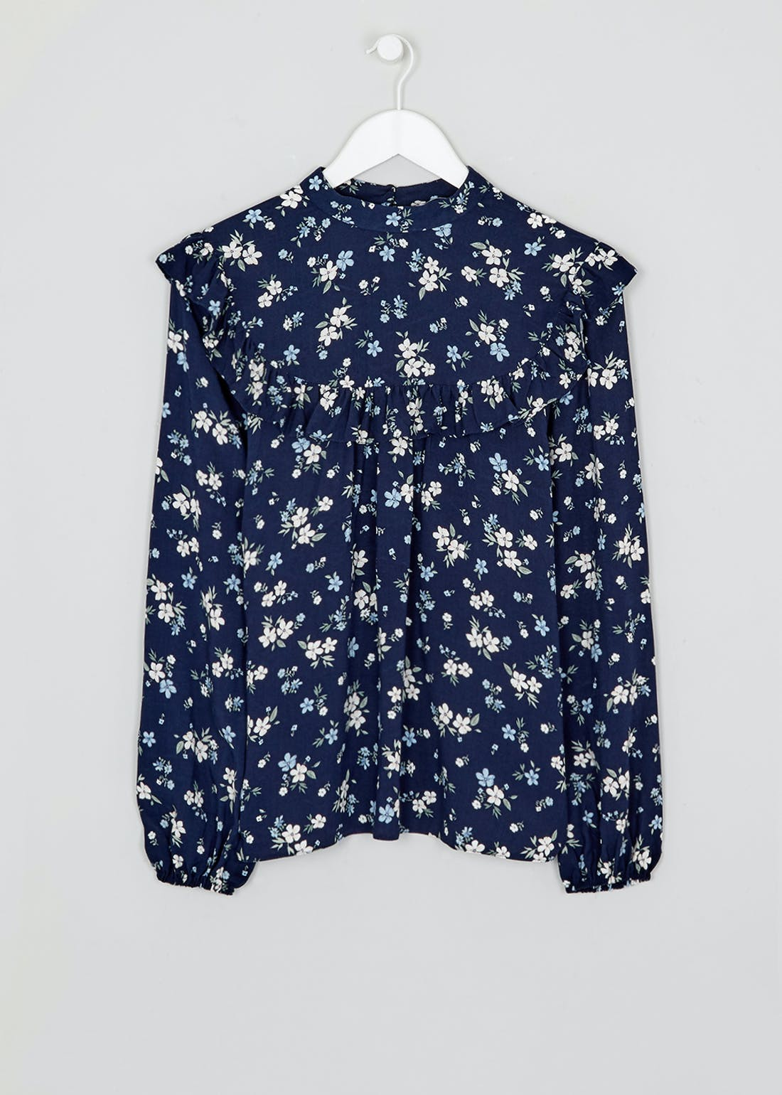 Navy Long Sleeve Floral Print Blouse