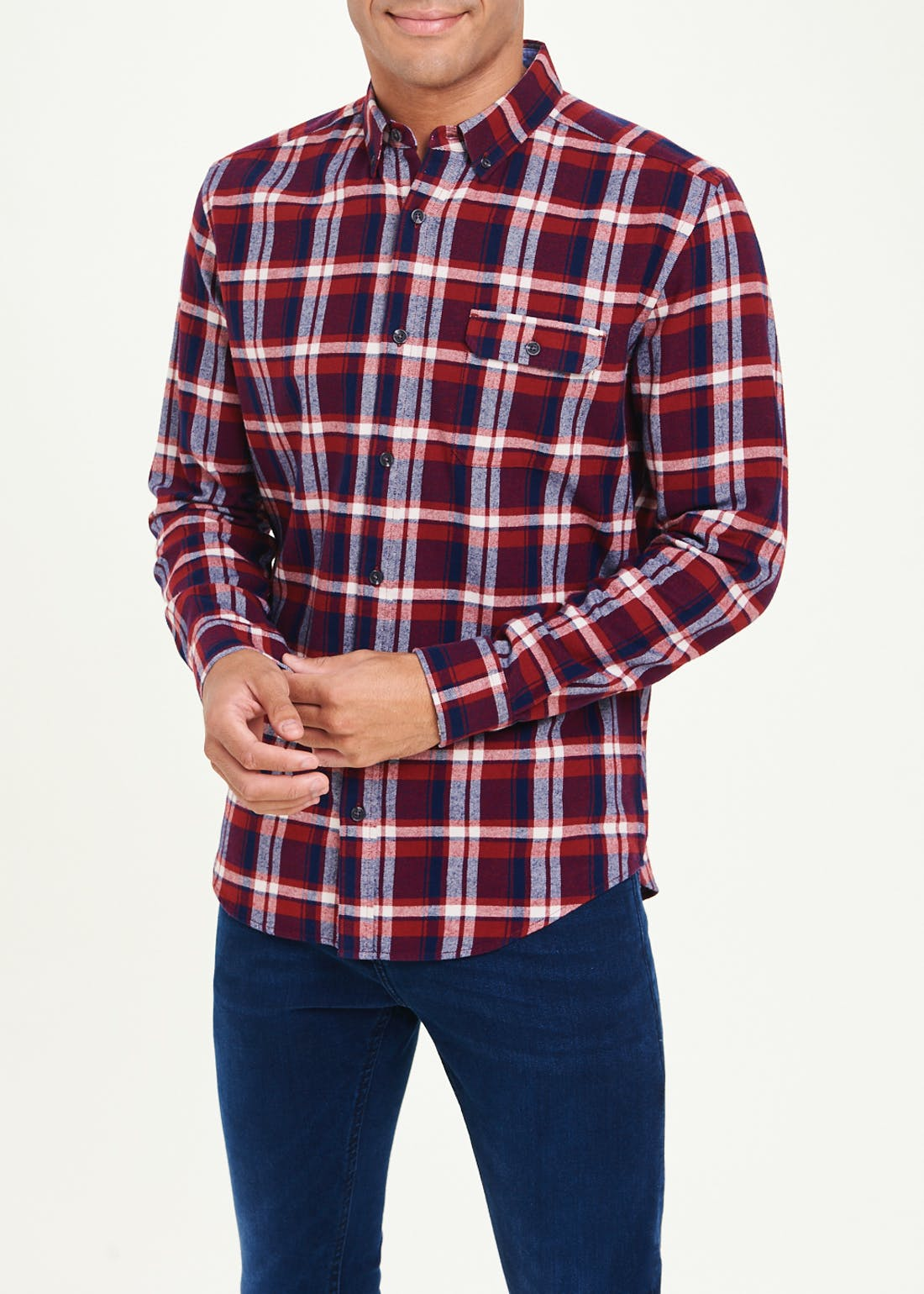 Long Sleeve Plaid Check Flannel Shirt