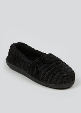 Black Velour Full Slippers