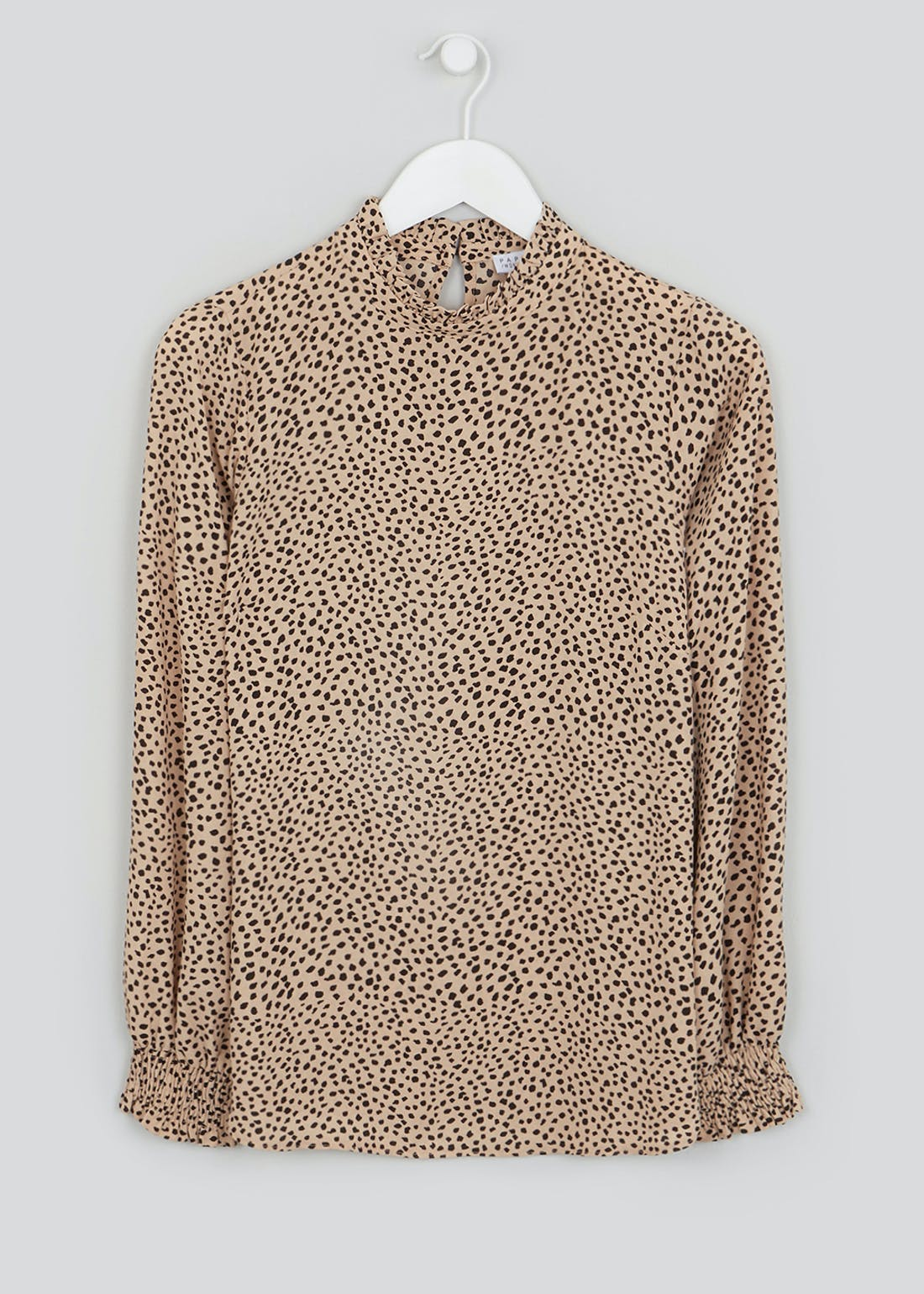 Beige Long Sleeve Animal Print High Neck Blouse