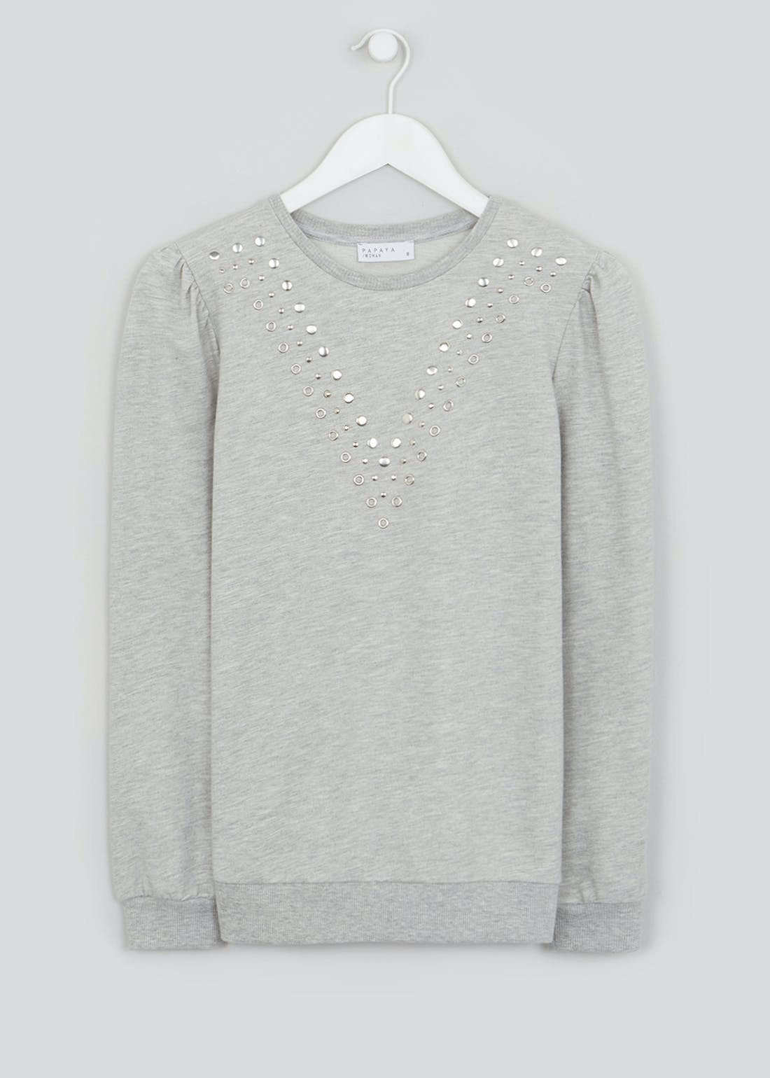 Puff Sleeve Studded Sweatshirt