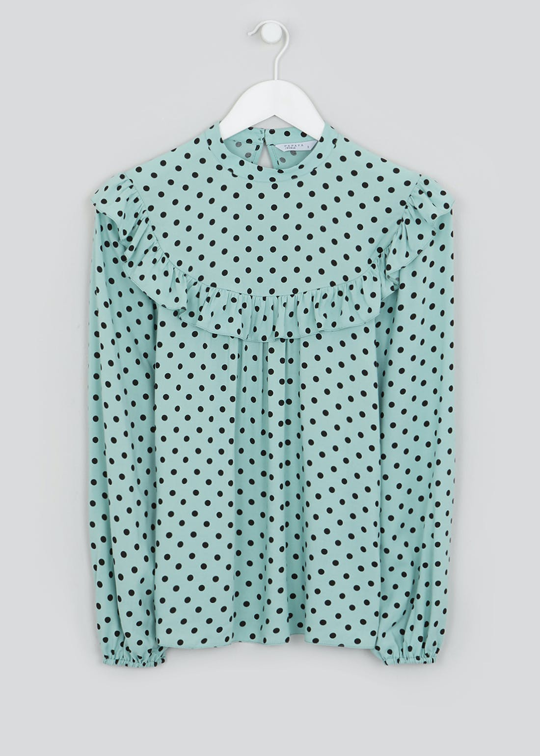 Mint Long Sleeve Polka Dot Blouse