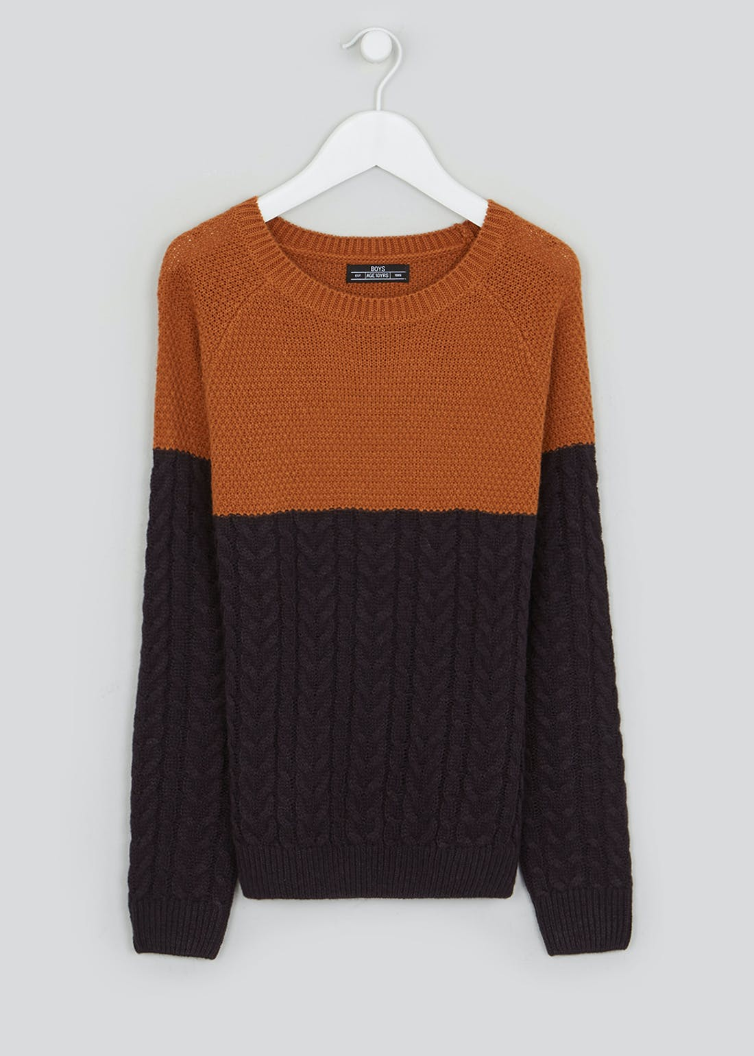 Boys Knitted Colour Block Jumper (4-13yrs)