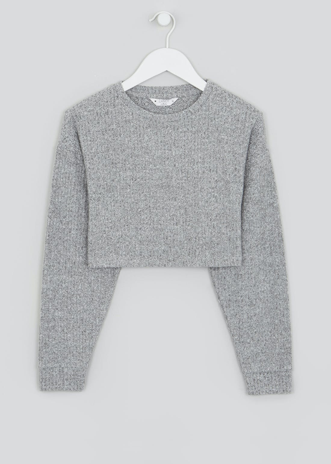 Girls Candy Couture Cropped Ribbed Knit Top (9-16yrs)