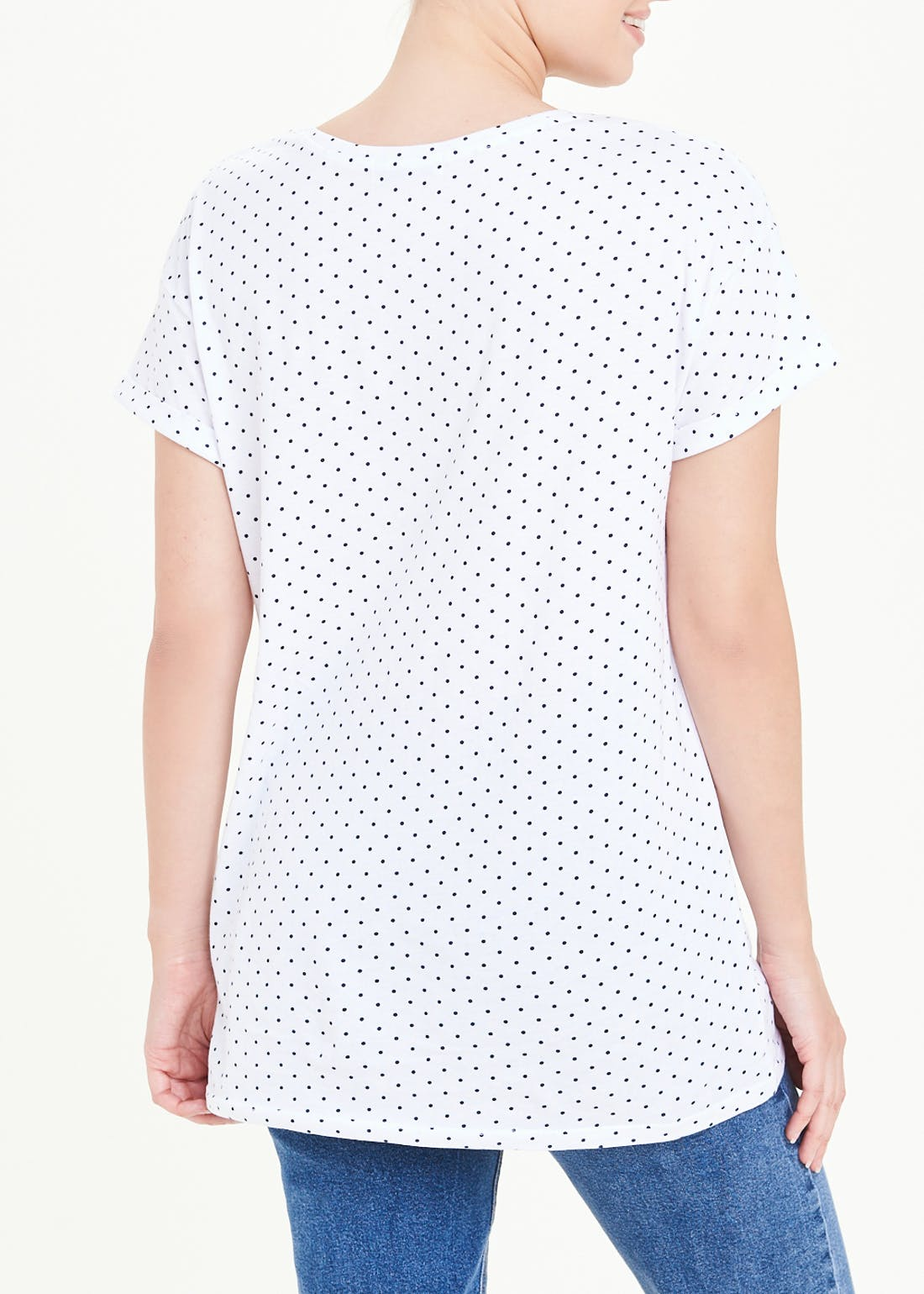 Polka Dot Longline Basic T-Shirt