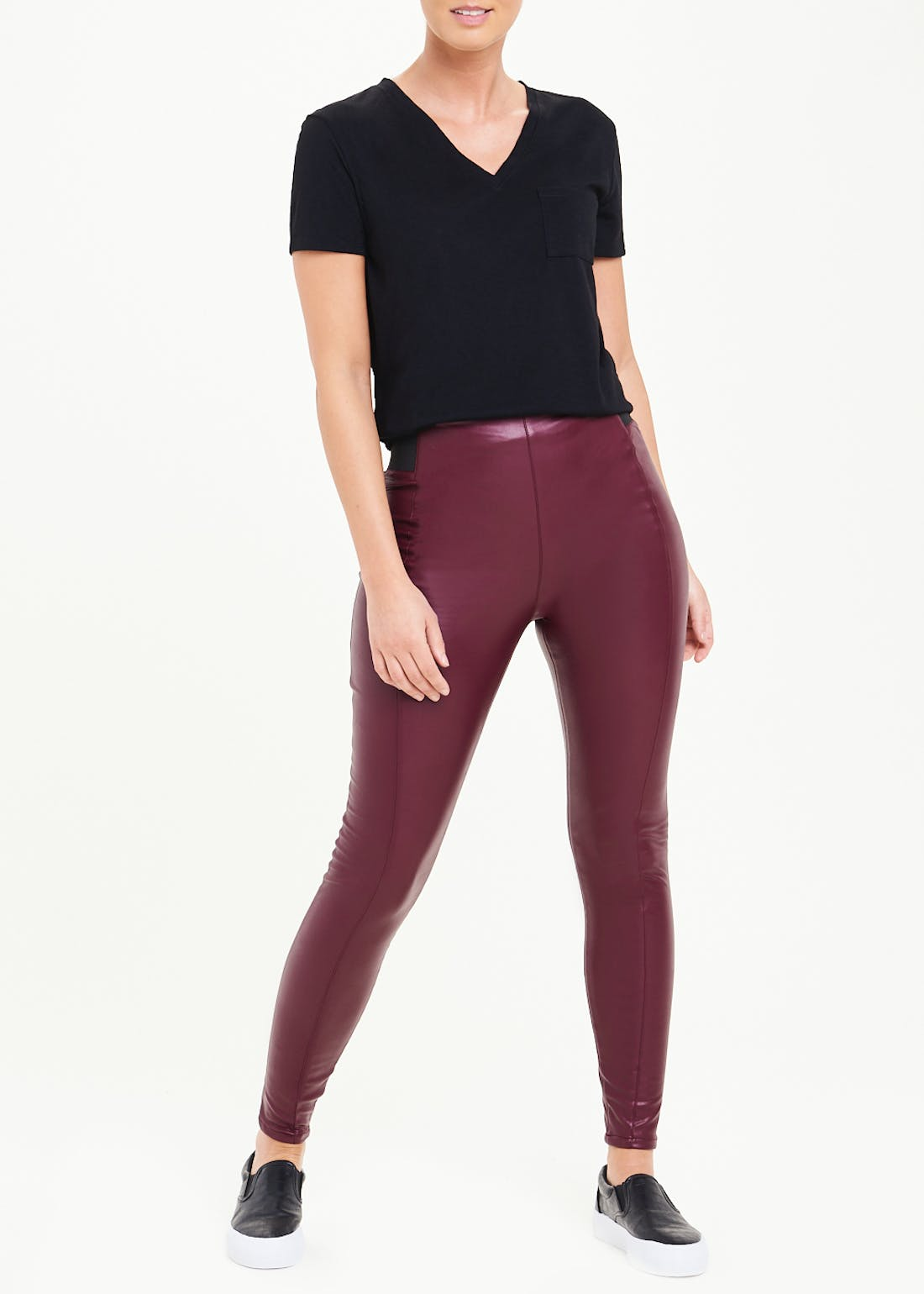 Leather Look Skinny Trousers