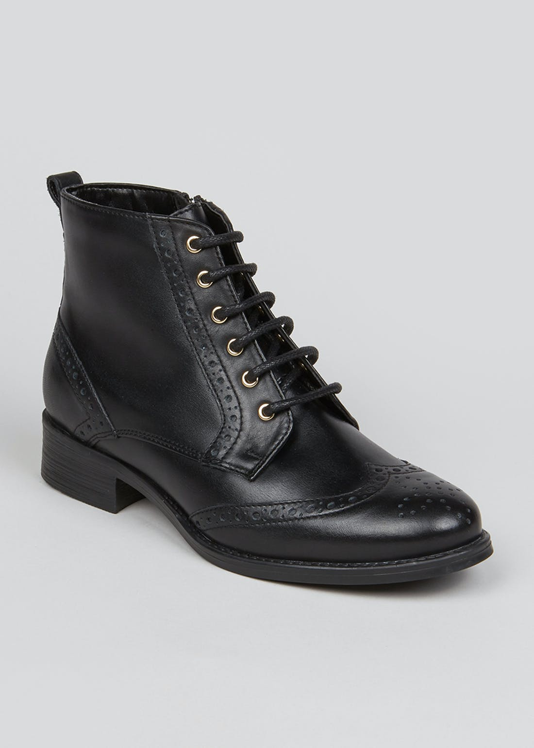 Soleflex Black Real Leather Brogue Boots