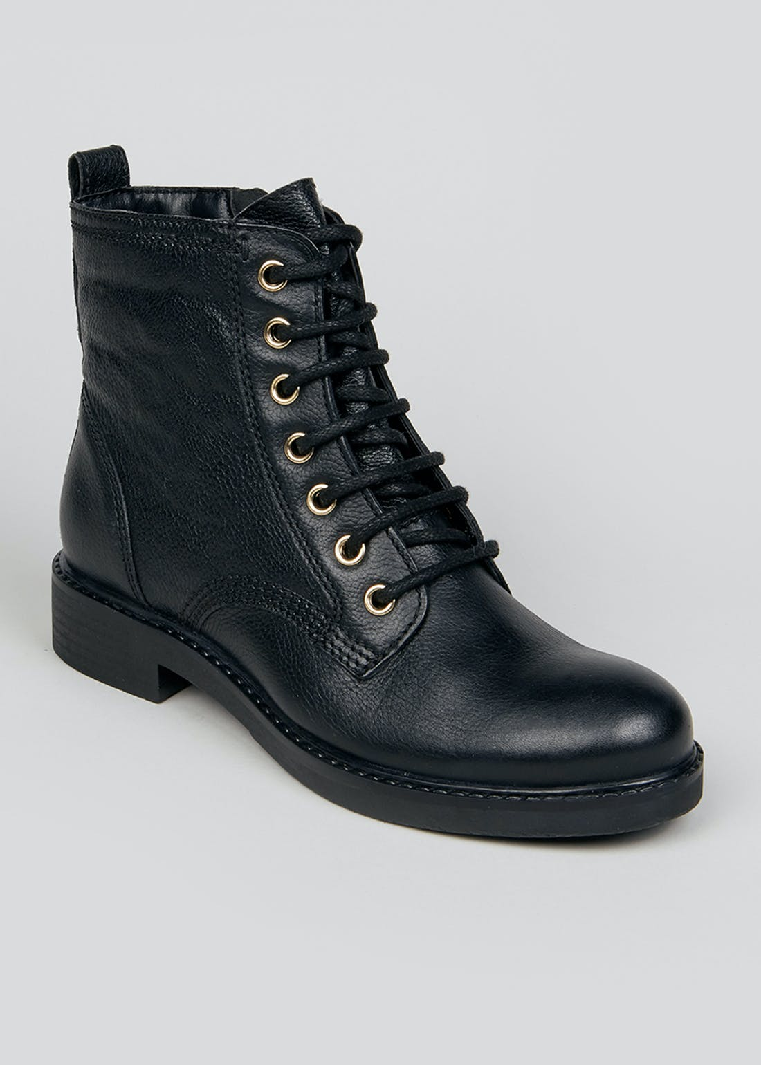 Soleflex Black Leather Lace Up Boots