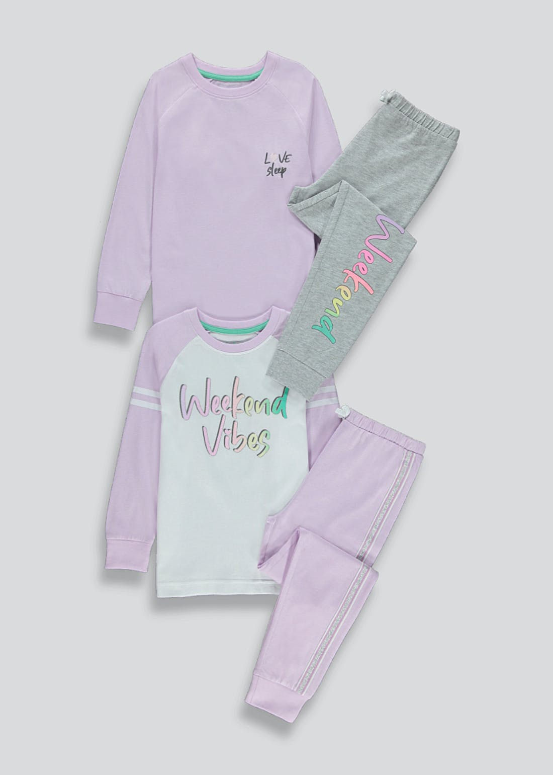 Girls 2 Pack Weekend Vibes Pyjamas (4-13yrs)