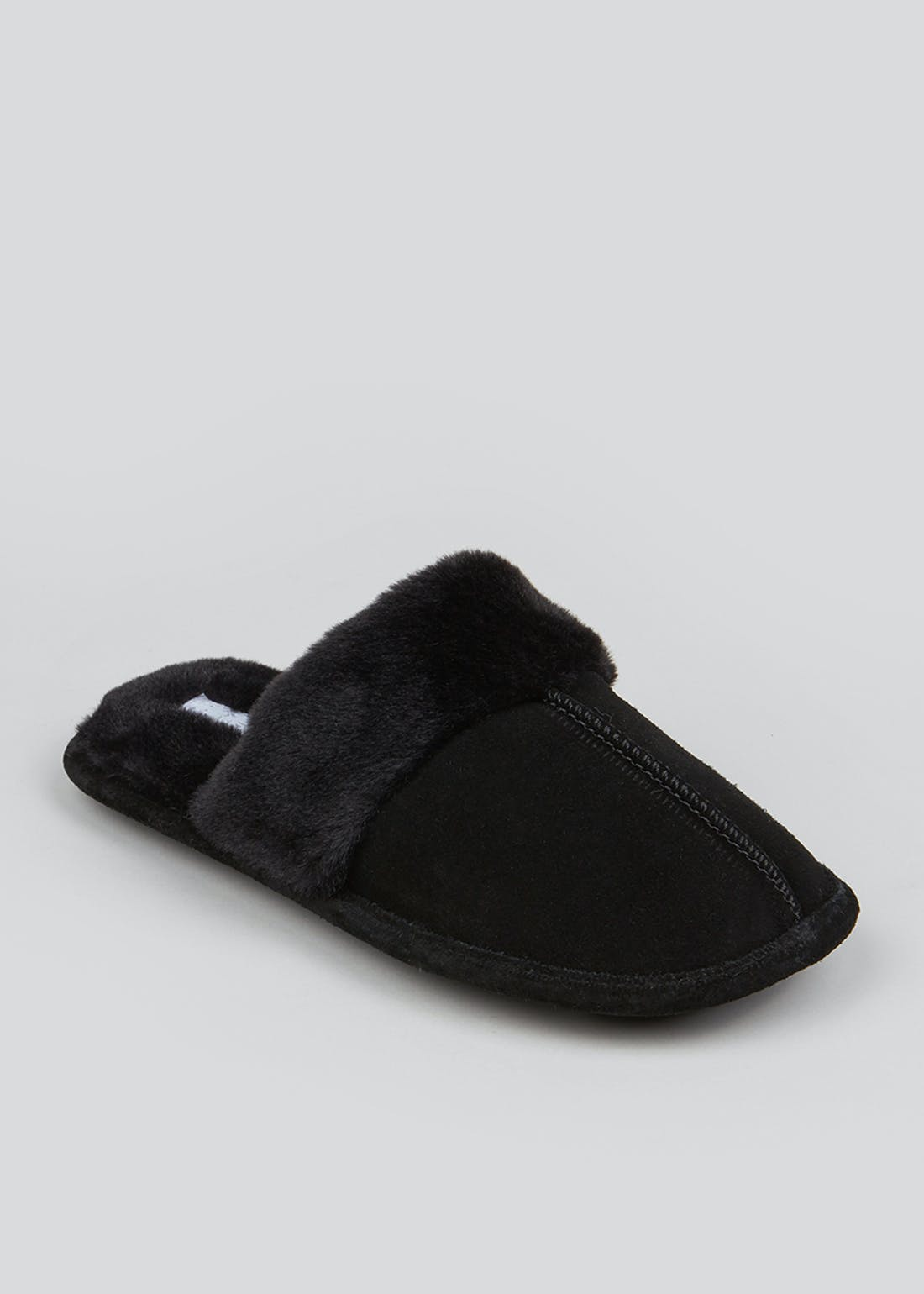 Black Faux Fur Trim Mule Slippers