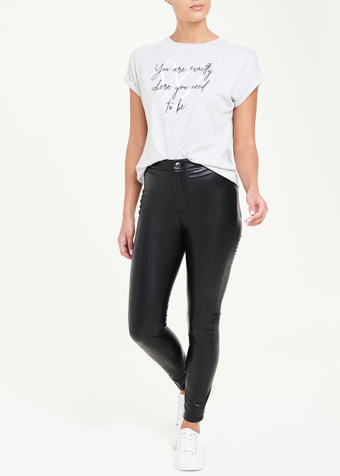 Jessie High Waisted Leather Look PU Trousers
