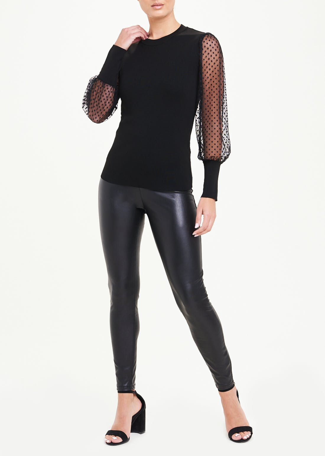 Dotted Mesh Sleeve Jumper