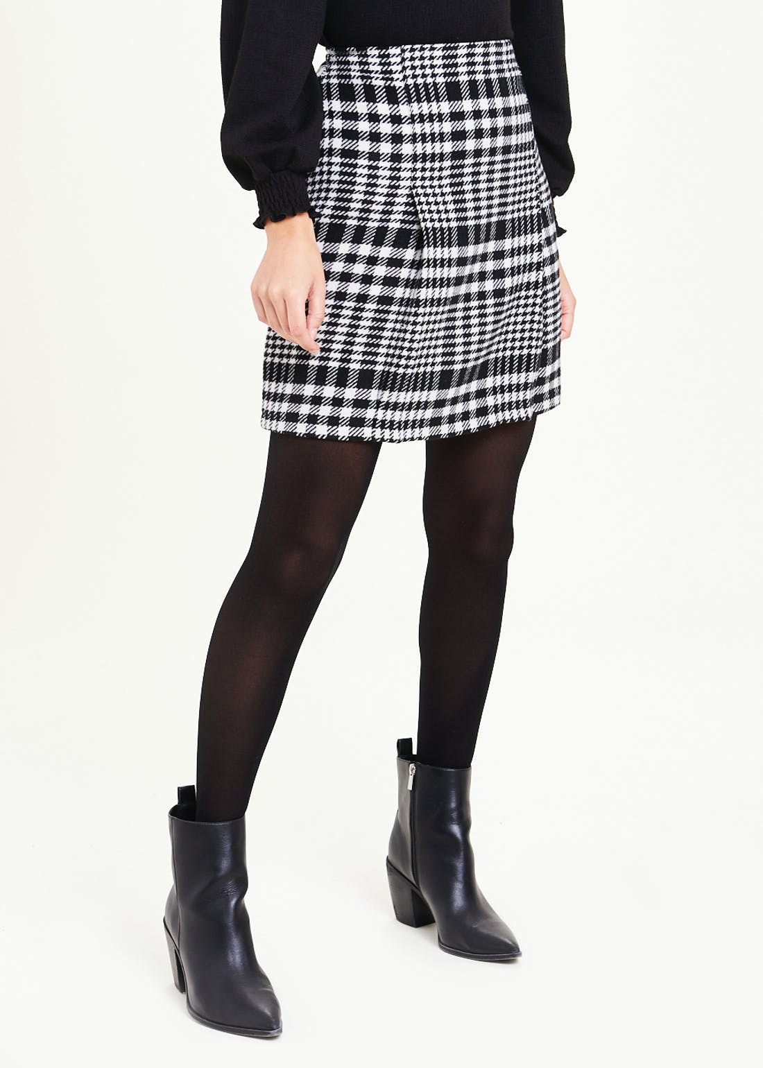 Check Pleat Front A-Line Skirt