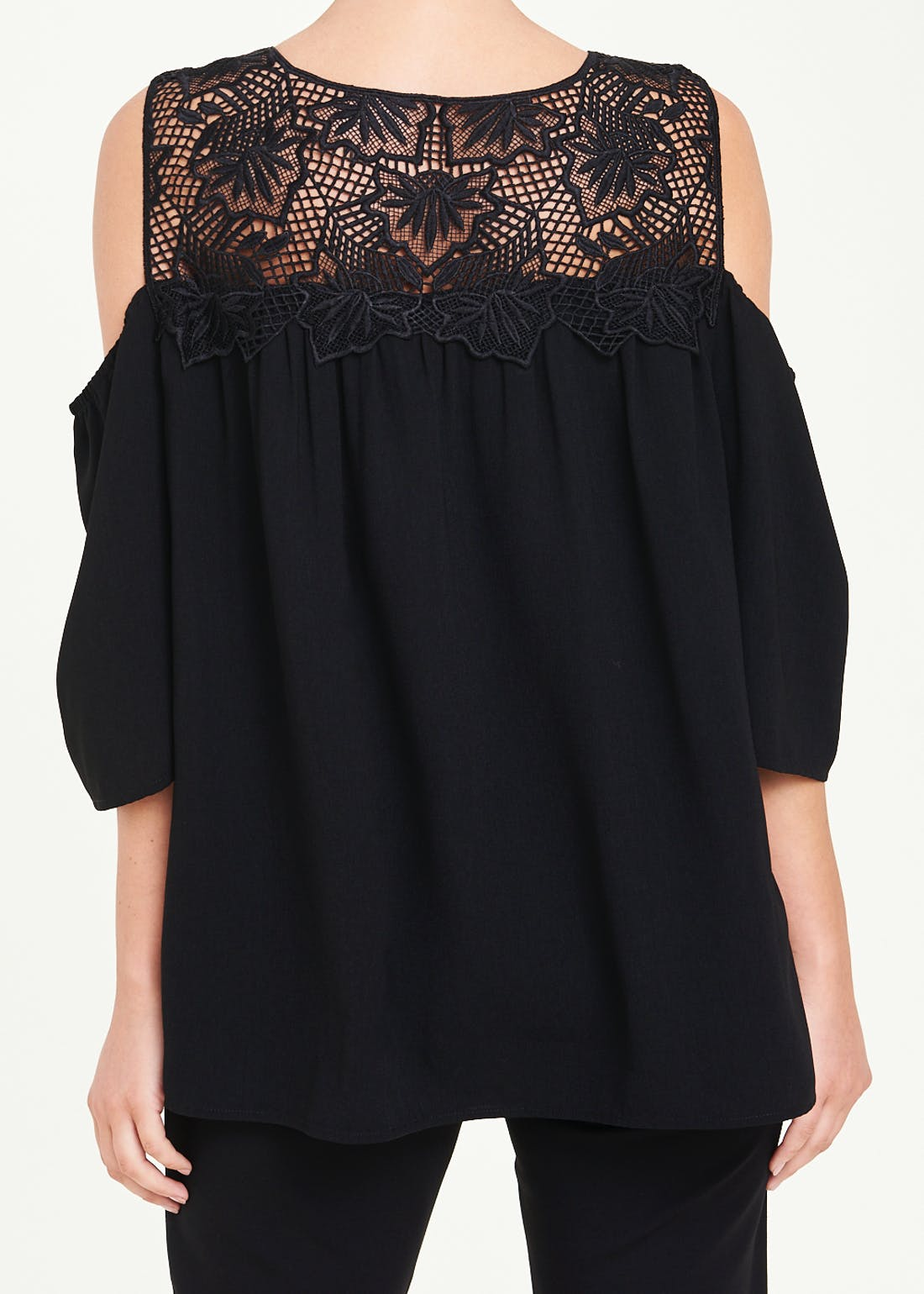 Soon Black Lace Cold Shoulder Blouse