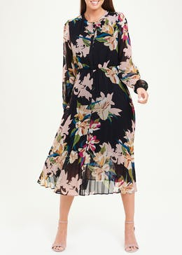Soon Long Sleeve Pleated Floral Shirt Dress