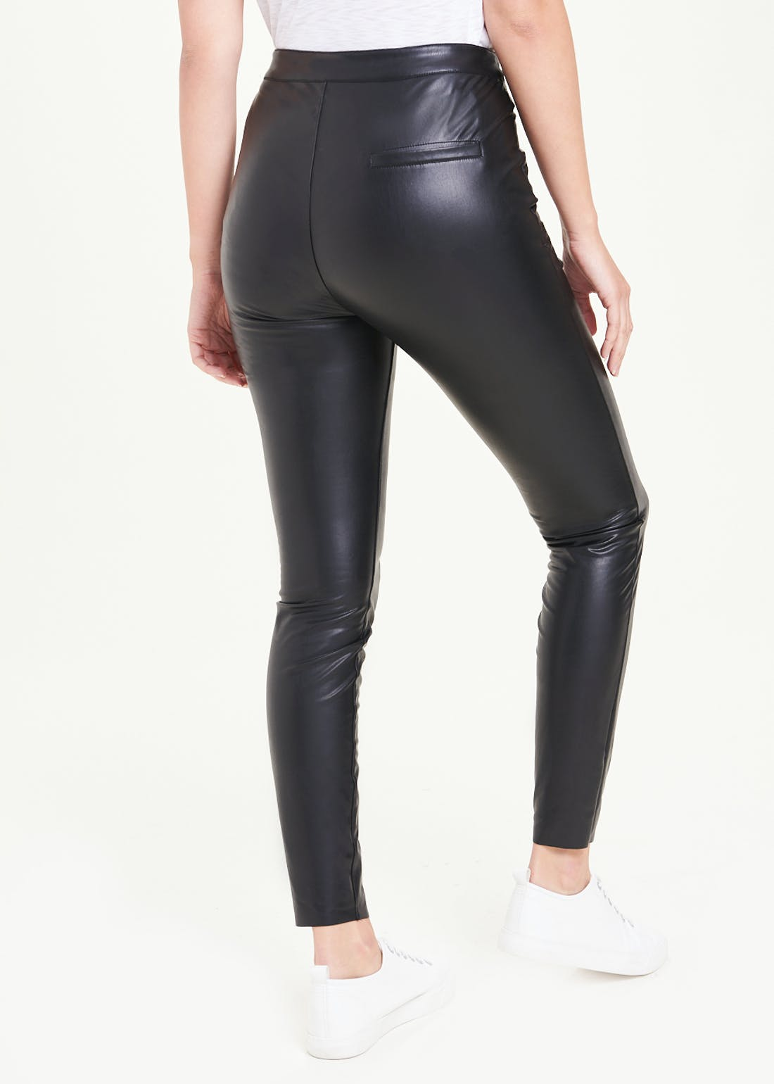 Side Zip Leather Look PU Trousers
