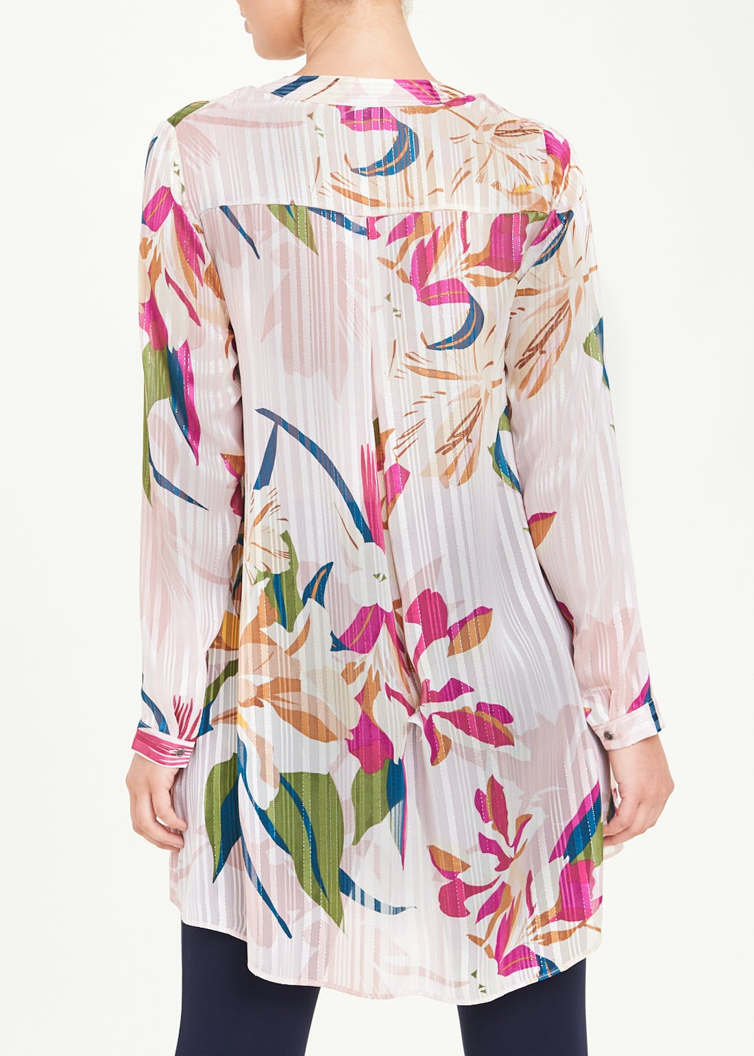 Soon Pink Long Sleeve Floral Tunic Blouse