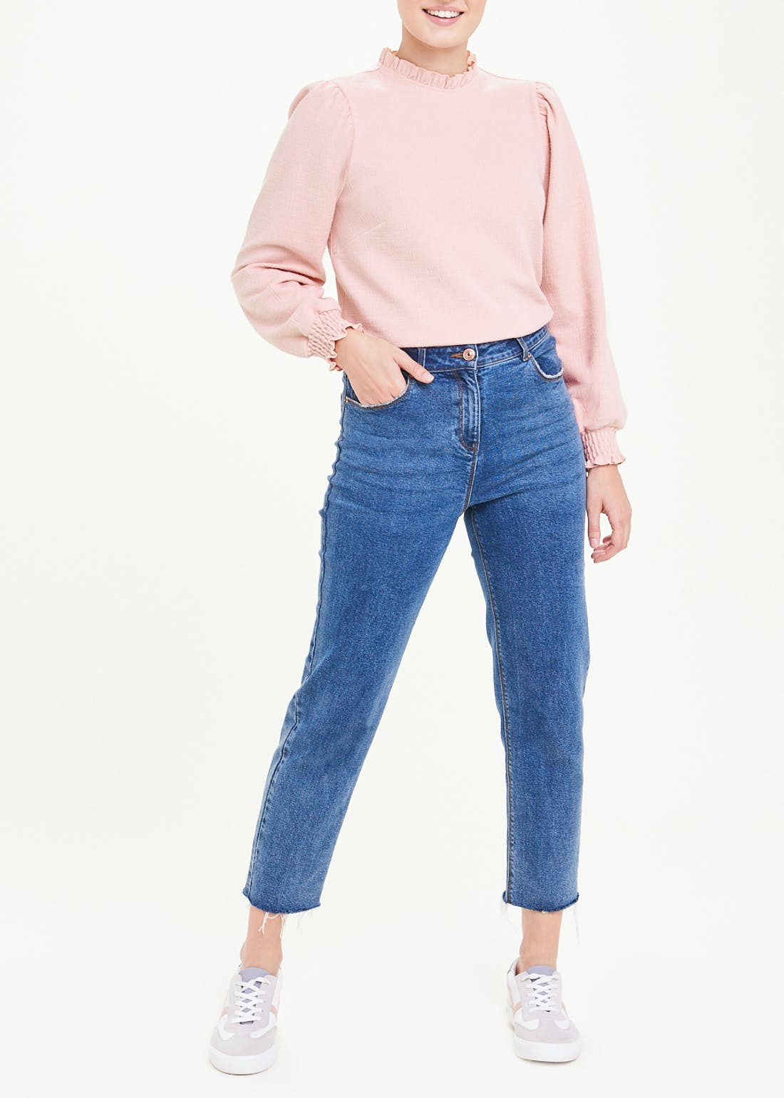 Long Sleeve Frill Neck Top