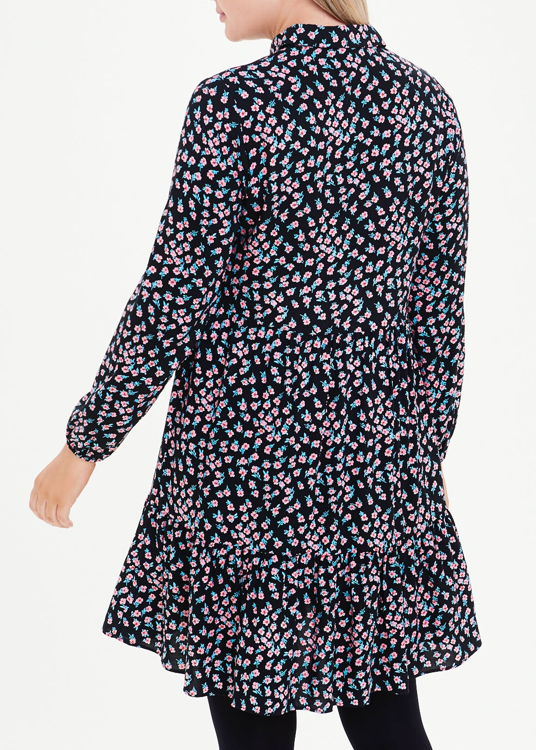 Navy Long Sleeve Floral Tiered Shirt Dress