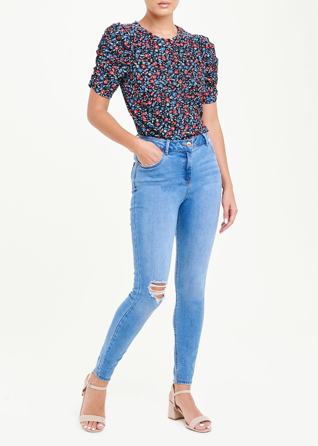 Ruched Sleeve Floral Jersey Top