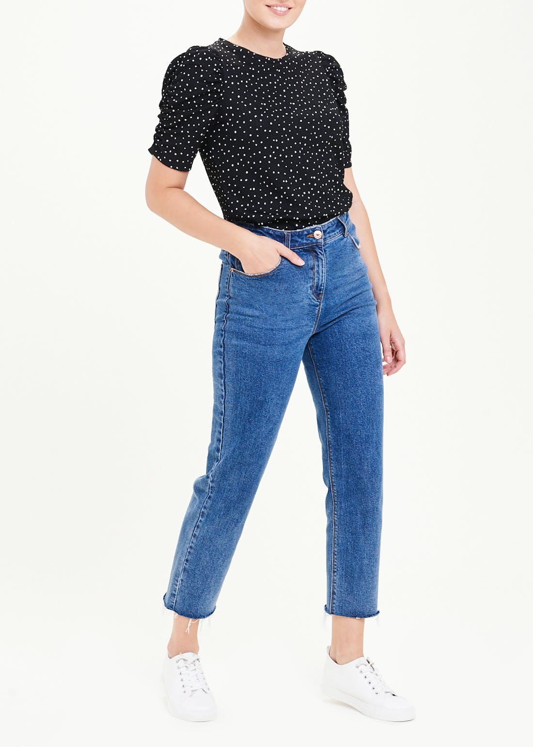 Polka Dot Ruched Sleeve T-Shirt
