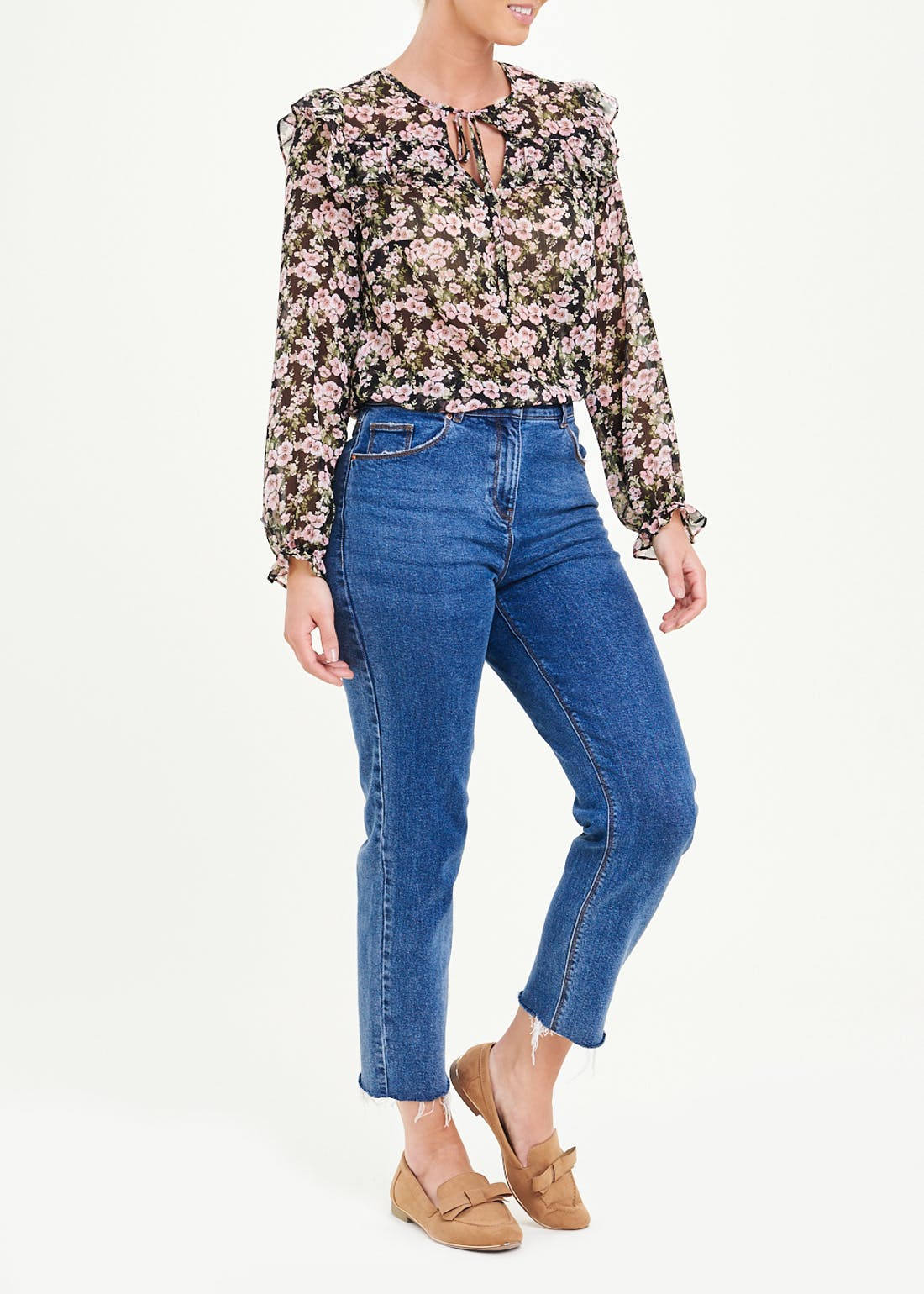 Long Sleeve Floral Tie Neck Blouse