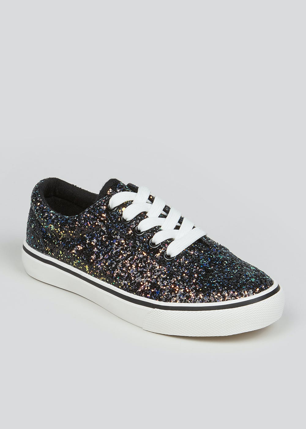 Girls Black Glitter Lace Up Trainers